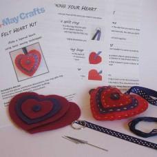 Make your own heart keyring   - felt craft kit
